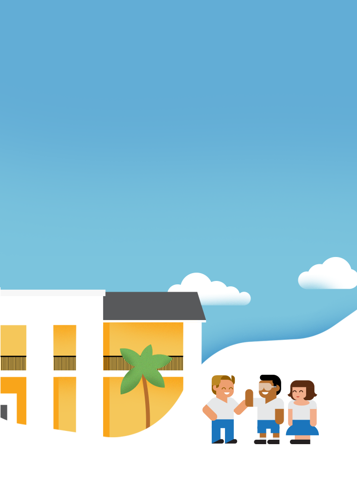 Background image with kids smiling in front of the school